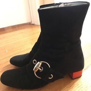 Gucci Black Leather Suede Ankle Boots Size 6.5